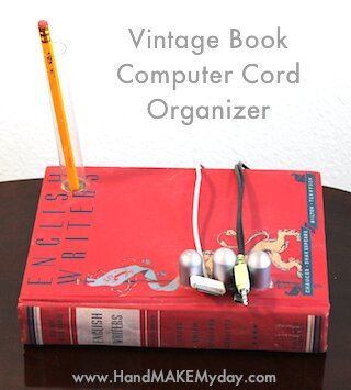 Upcycled Book Computer Cable Organizer