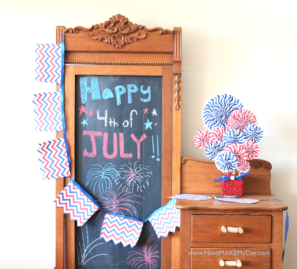 4th Of July Chevron Pattern Crafts + Free Pattern, andrea currie, handmakemyday, ms. craft-tastic, glitter