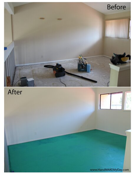 Extreme Craft Room Makeover – Part 2 Glittered Floor