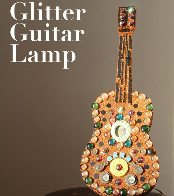 Anniversary Craft: Mosaic Glitter Guitar Lamp
